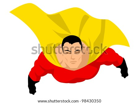 Superhero flying up pose - stock vector