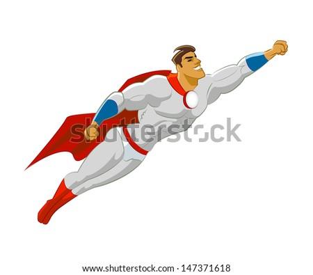 Superhero flying. Vector illustration - stock vector
