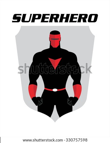 superhero. full masked superhero. man with the mask.  half body of superhero combine with text and shield silhouette. .  - stock vector