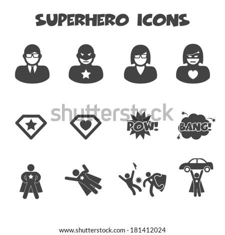 superhero icons, mono vector symbols - stock vector