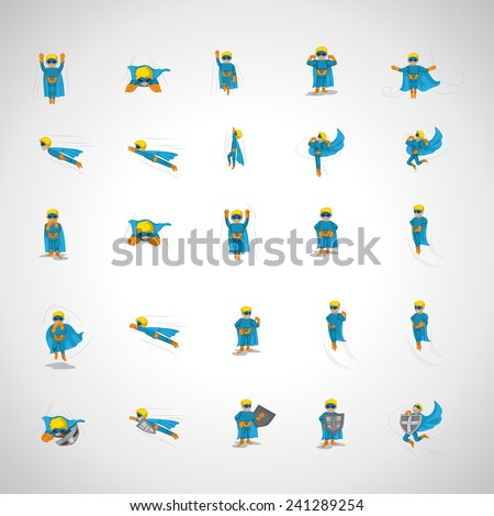 Superhero In Action Set - Isolated On Background - Vector Illustration, Graphic Design, Editable For Your Design  - stock vector