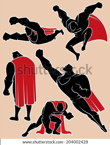 Superhero in Action 2: Superhero silhouette in 5 different poses. - stock vector