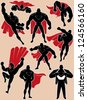 Superhero in Action: Superhero silhouette in 9 different poses. No transparency and gradients used. - stock photo