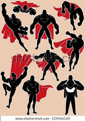 Superhero in Action: Superhero silhouette in 9 different poses. No transparency and gradients used. - stock vector