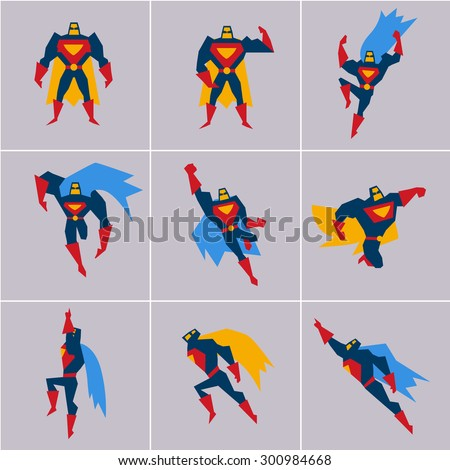 Superhero in Action. Superhero silhouette in different poses vector - stock vector