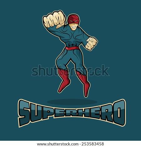 Superhero in Action vector design template - stock vector