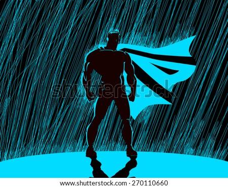 Superhero in rain: Superhero watching over the city. - stock vector