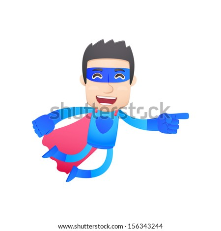 superhero in various poses for use in advertising, presentations, brochures, blogs, documents and forms, etc. - stock vector