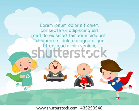 superhero kids at playground,  Template for advertising brochure,your text ,Cute little  Children's, Kids and frame,child and frame,Vector Illustration - stock vector