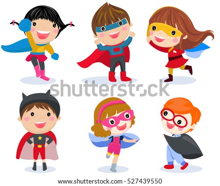 Superhero kids boys and girls cartoon vector illustration collection.
