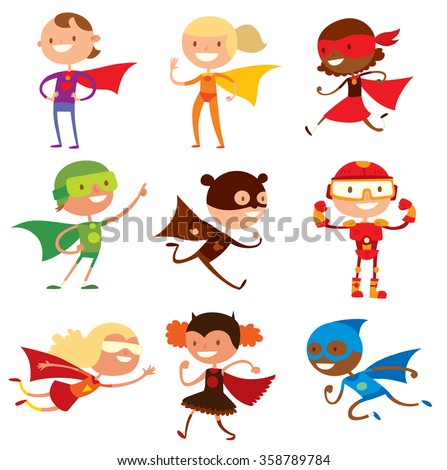 Superhero kids boys and girls cartoon vector illustration. Super children illustration. Super hero kids playing, fly, Super kids in action. Superkids flying, success people concept - stock vector