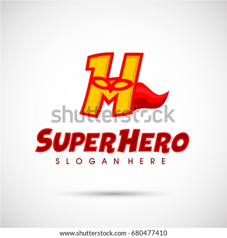 superhero logo template letter h mask stock vector 680477410