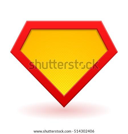 Superhero Logo Template Red Yellow And Orange Halftone Dots Shadows Vector