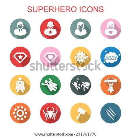 superhero long shadow icons, flat vector symbols - stock vector