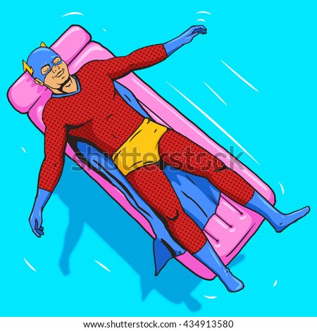 Superhero lying on air mattress on water. Cartoon pop art vector illustration. Human comic book vintage retro style. - stock vector