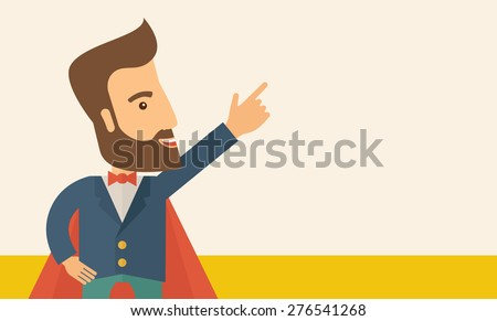 Superhero man pointing upward aiming higher sales in business. Business growth. A Contemporary style with pastel palette, soft beige tinted background. Vector flat design illustration. Horizontal - stock vector