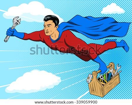 Superhero man with tool box comic book pop art retro style vector illustration. Comic book imitation - stock vector