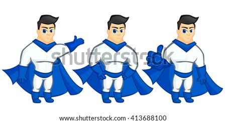 Superhero mascot, blue and white dress. Sport (muscle) man in boots, gloves, belt and cloak. Handsome guy, blue eyes and forelock. - stock vector