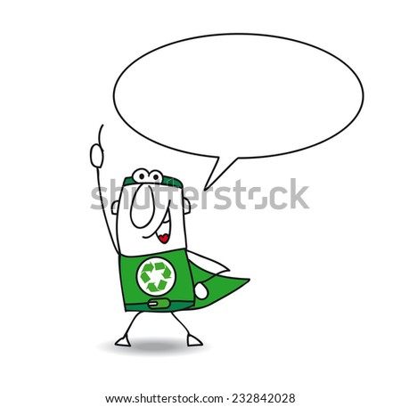 Superhero of recycling is speaking. The Super recycling man helps you with the recycling process - stock vector