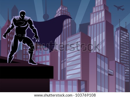 Superhero on Roof: Superhero watching over the city. No transparency used. Basic (linear) gradients. A4 proportions. - stock vector