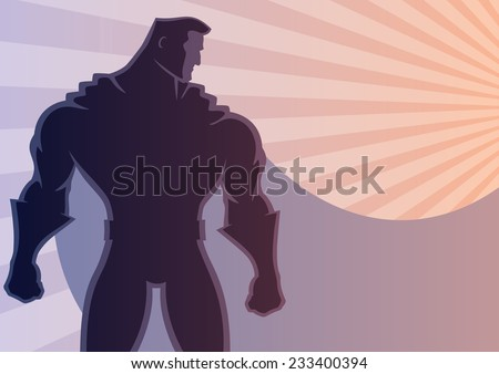 Superhero over sunrays background with copy space. No transparency used. Basic (linear) gradients. A4 proportions. - stock vector