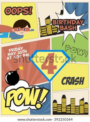 Superhero party invitation card - stock vector