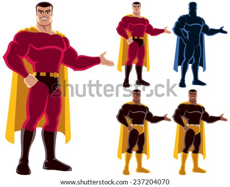 Superhero presenting your text or product with smile. On the right are 4 additional versions, including silhouette. No transparency and gradients used. - stock vector