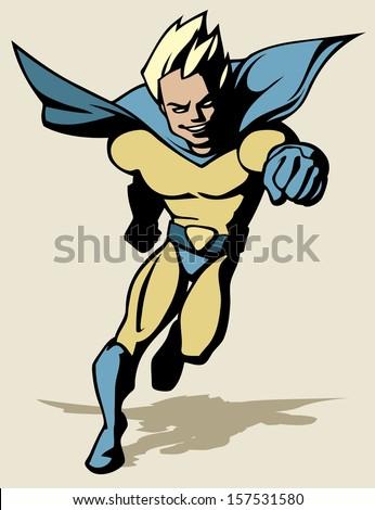 Superhero running forward - stock vector