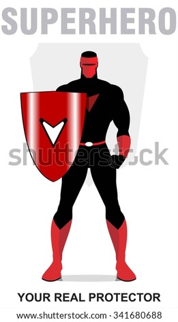 superhero. superhero holding a shield, standing superhero with the shield. masked superhero, the real protector. man with the mask. full body of superhero combine with shield and text. - stock vector