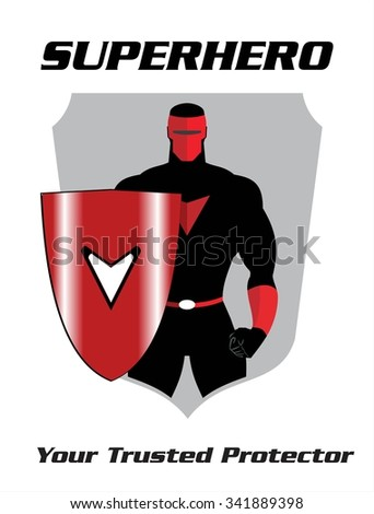 superhero. superhero holding a shield, standing superhero with the shield. masked superhero, the real protector. man with the mask. half body of superhero combine with shield and text - stock vector