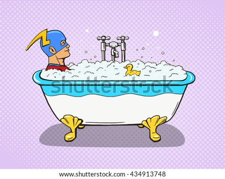 Superhero takes a bath. Cartoon pop art vector illustration. Human comic book vintage retro style. - stock vector