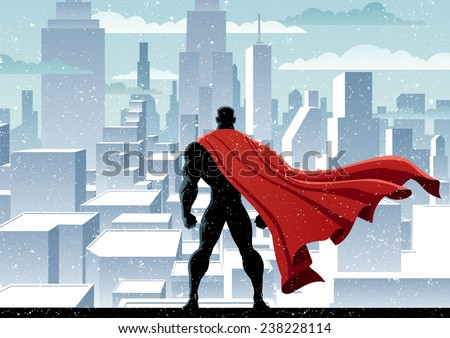 Superhero Watch: Superhero watching over city. No transparency used. Basic (linear) gradients. A4 proportions.  - stock vector