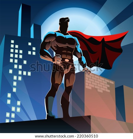 Superhero watching over the city. - stock vector