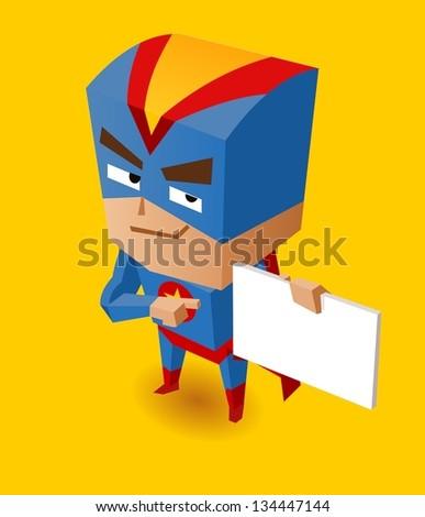 Superhero with sign board. Vector Illustration - stock vector
