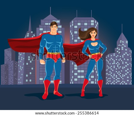 Superheroes on urban landscape backgound. Man and woman super heroes. Vector illustration - stock vector