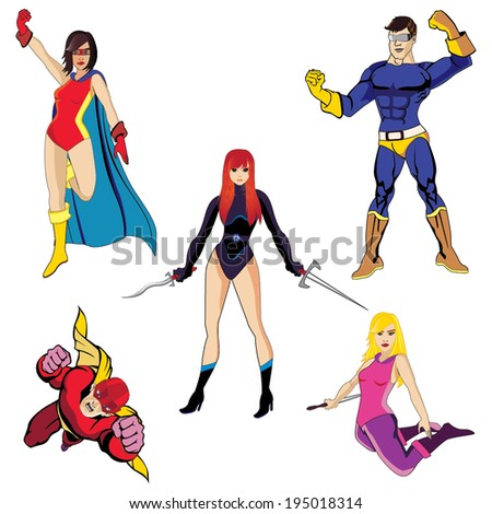 Superheroes vector #2 - stock vector