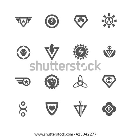 Superheroes vector badges. Protect and power superhero logo templates - stock vector