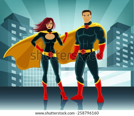 Superheroes vector colorful illustration - stock vector