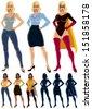 Superheroine Transformation: Ordinary woman transforms into superheroine. No transparency or gradients used. - stock vector