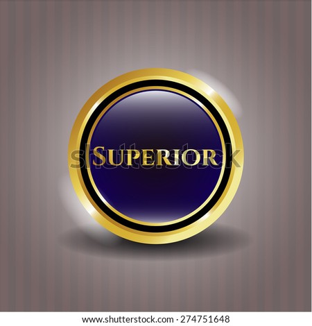 Superior gold shiny medal - stock vector