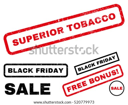 Superior Tobacco rubber seal stamp watermark with additional images for Black Friday offers. Text inside rectangular shape with grunge design and scratched texture.