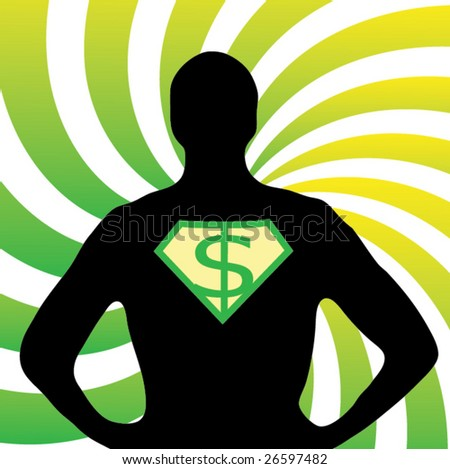 Superman silhouette with dollar sign - stock vector