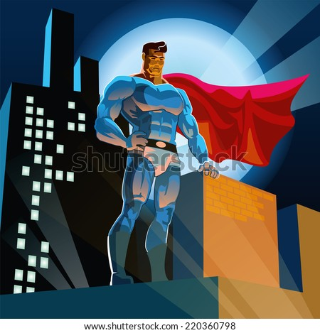 Superman watching over the city - stock vector
