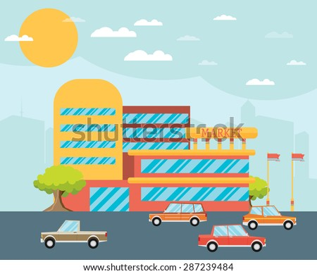 Supermarket building facade with parking in front of it, flat vector illustration. - stock vector