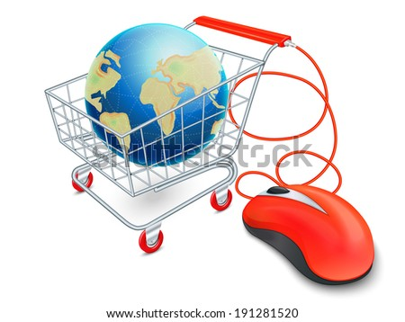 Supermarket cart 3d with computer mouse and globe internet shopping concept vector illustration
