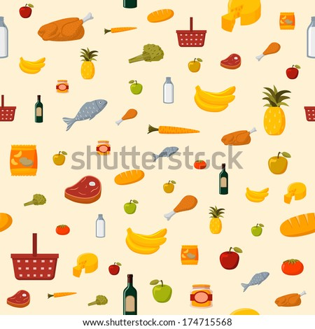Supermarket food items seamless background of fresh and natural vegetables fruits meat and dairy products isolated vector illustration