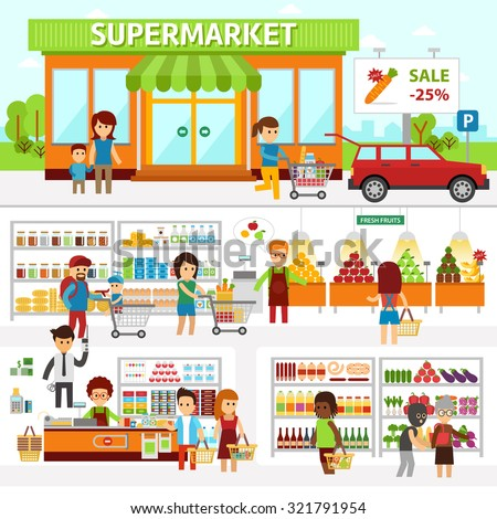 Supermarket infographic elements. Flat vector design illustration. People choose products in the shop and buy goods. Man and woman standing at the checkout in a store - stock vector