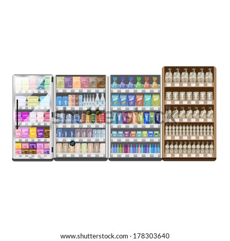 Supermarket Refrigerator And Shelves Set - Isolated On White Background - Vector Illustration, Graphic Design Editable For Your Design - stock vector