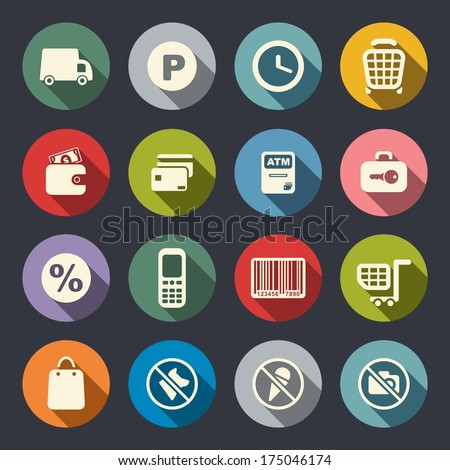 Supermarket services icon set - stock vector