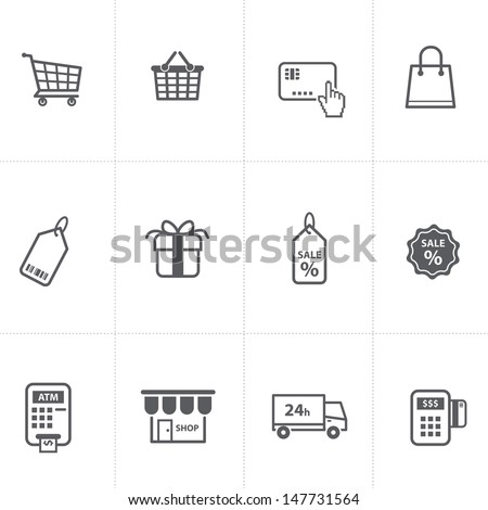 supermarket services, Shopping Icons set. - stock vector